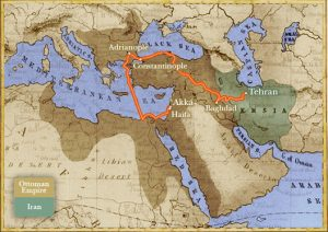 Map showing route of Bahá'u'lláh' s forced exile from His home